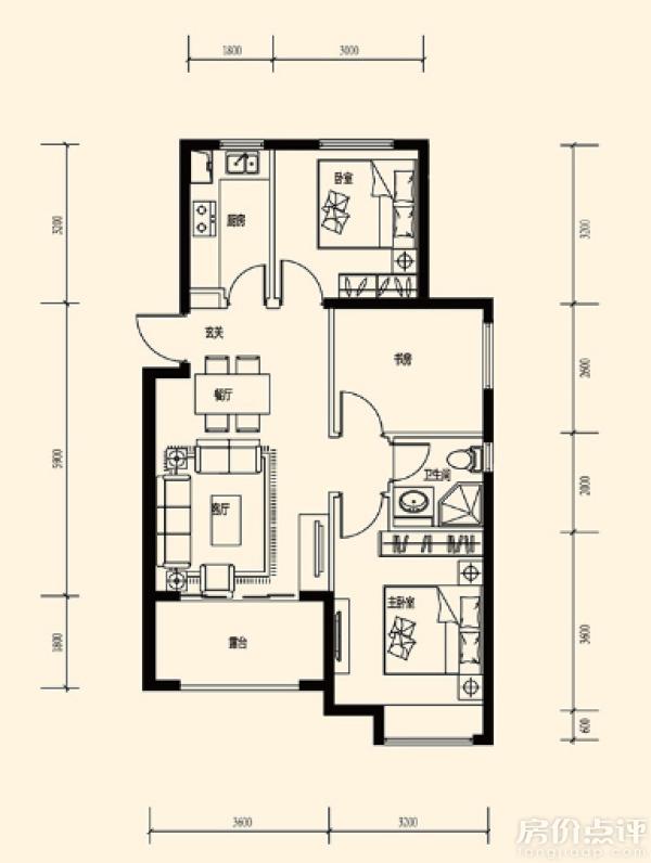 动线明晰;2,卫生间在两个卧室中间,生活便利;3, 厨房l型设计,便于操作图片